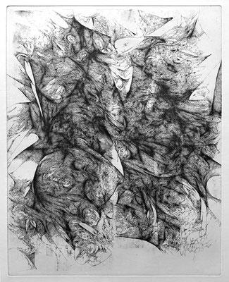 En Silence I / eau forte sur cuivre / 1er état / 50 x 40 cm / 2017