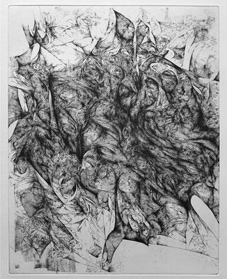 En Silence II / eau forte sur cuivre / 1er état / 50 x 40 cm / 2017
