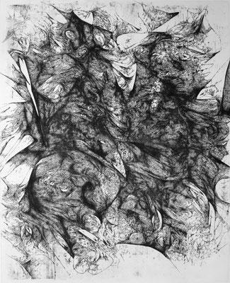 En Silence I / eau forte sur cuivre / 2e état / 50 x 40 cm / 2018