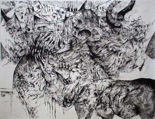 Saxifrage I/fusain sur papier/150x200cm/2017