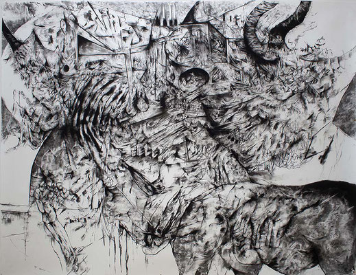 Saxifrage I / fusain sur papier / 150x200cm / 2017
