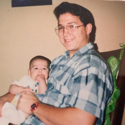 Papa Jonas and baby Joseph.