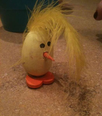 """This is an Easter Chick Joe made for his mom when he was in 3rd grade, as he said """"true art"""""""