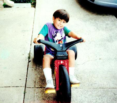Joe riding his Big Wheel in Dallas.