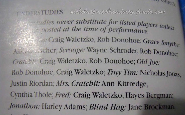listed as Tiny Tim's understudy