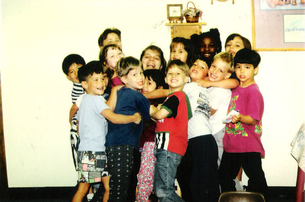Goofy class picture of Joe and Helena Alone (Lu Alone's sister, childhood friend). If you pay attention you can spot their teacher in the middle!