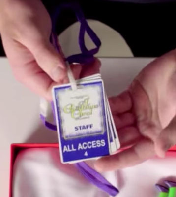 "Nick's backstage pass from the show, which he ""wore with pride"""