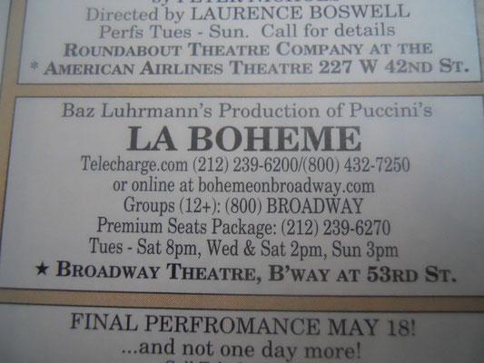 La Boheme ad in the Les Misérables playbill - Credit NJB