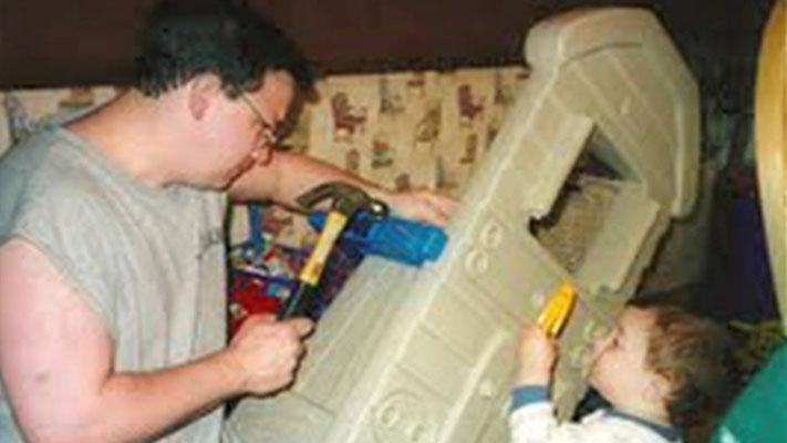 Papa Jonas and his little handyman.