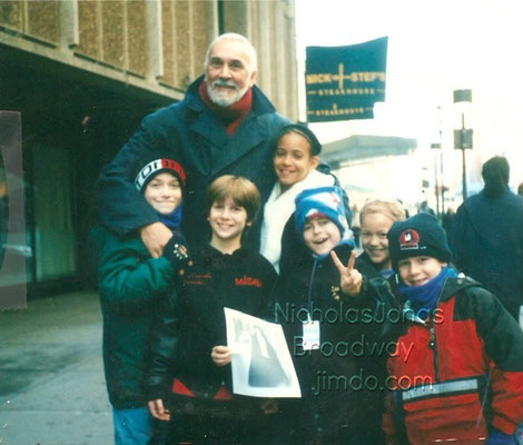 A big big thank you to Amelia Harris for sending this one in!  - Frank Langella (Scrooge), and the kids! That's Amelia to his left, she's the tallest girl, then to his right, in order - unknown, Gerard Canonico, Patrick Stogner (Tiny Tim), and Nick in red