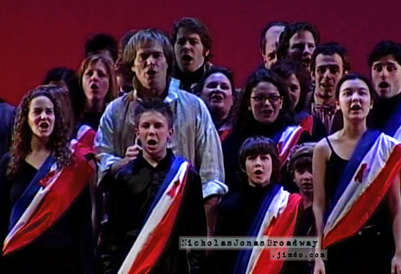 Past and Present cast members of Les Misérables perform at their final BC/EFA event, the 2002 Gypsy of the Year. Nick in black, front row, tiniest one in the group. December 10th, 2002. Credit BC/EFA