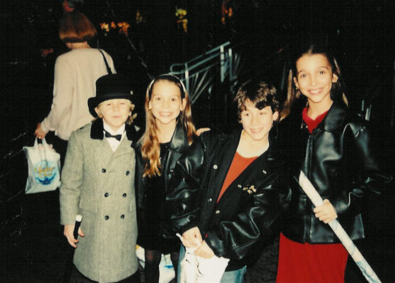 Nicholas visits his friends at the opening night of A Christmas Carol at MSG, November 23rd, 2001 with Jewel Restaneo (Fan), Blaire, and Shadoe Brandt (Tiny Tim). - Credit Restaneo family