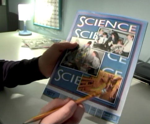 Nicholas showing one of his 7th Grade Science PACEs, from the 2006 Day in the Life video