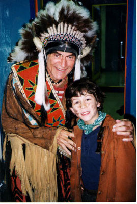 Nick with Larry Storch (Sitting Bull) - credit nicholasjonas.com