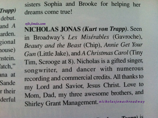 Nick's bio - credit Meg's personal playbill