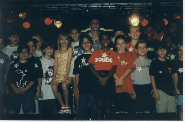 "Nicholas gathers with other B'way kids at ""Camp Broadway's Salute to Singing and Dancing Kids"", August 2001. Credit Stephen Scarpulla"