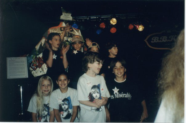 "Nicholas gathers with other B'way kids at ""Camp Broadway's Salute to Singing and Dancing Kids"", August 2001. CREDIT all 4 to Stephen Scarpulla"