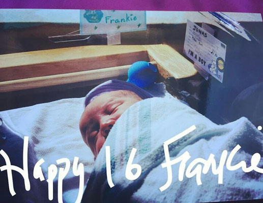 When he was born. Posted by Mrs. Jonas, on his 16th birthday.