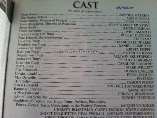 the cast list - credit Meg's personal playbill