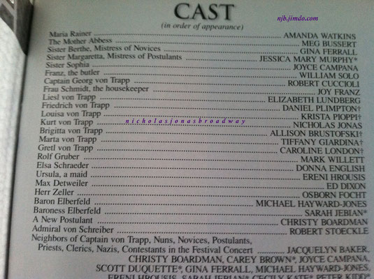 the cast list - credit Meg's personal playbill