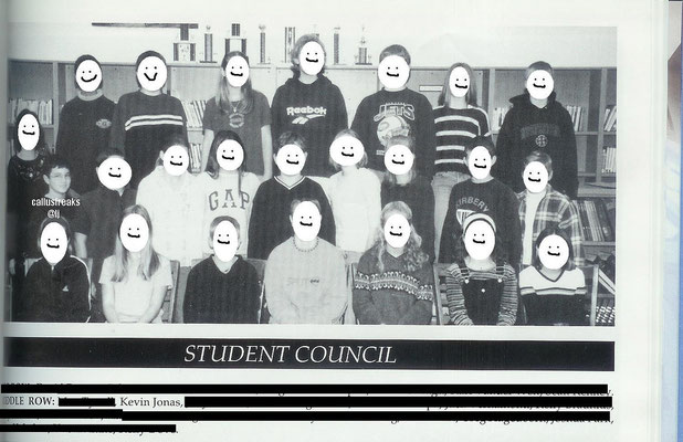 Kevin and the student council in the yearbook- Eastern Christian Middle School, grade 6.