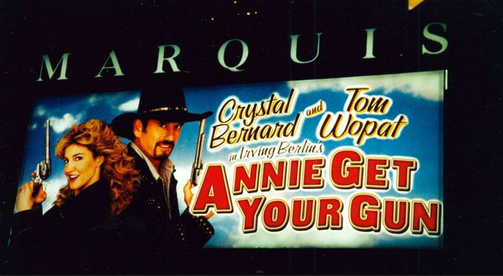 The show's marquee (ft. Crystal Bernard and Tom Wopat)