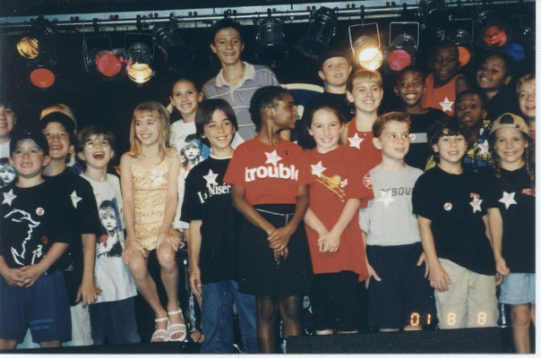 "Nicholas gathers with other B'way kids at ""Camp Broadway's Salute to Singing and Dancing Kids"", August 2001. Kids include: Patrick Stogner, Nan Anbri, Stephen Scarpulla (credit), Andrea Bowen, Harrison Chad, William Ullrich, and Blaire Restaneo"