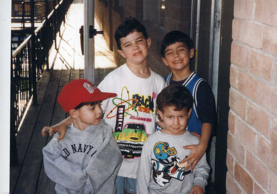 Kevin, Joe and Nick with childhood friend Brandon, back in their Dallas apartment complex, circa 1995-96