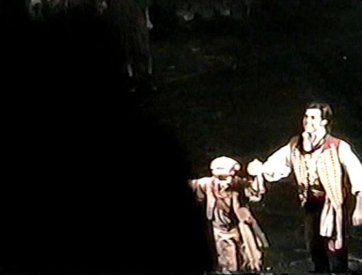 Closing night curtain call, Nicholas and Chris Peterson (Enjolras)