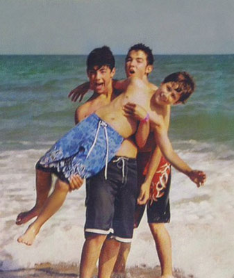 Nick gets a lift from his bros!