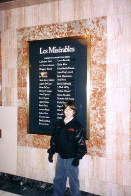 Nicholas with the cast list and his Les Miserables jacket at the Imperial Theater - Credit Shirley Grant