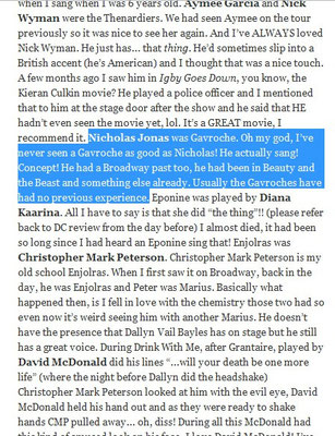 a review from someone's blog, Dec. 29th 2002 performance (highlighted part) - credit to blog owner