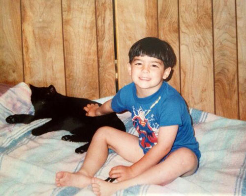 Joe and a black cat.