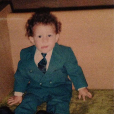 Baby Nick in a suit.