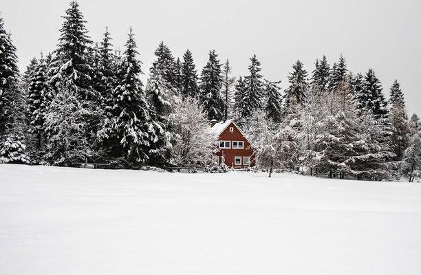 Schwedenhäuschen bei Braunlage im verschneiten Winterwald