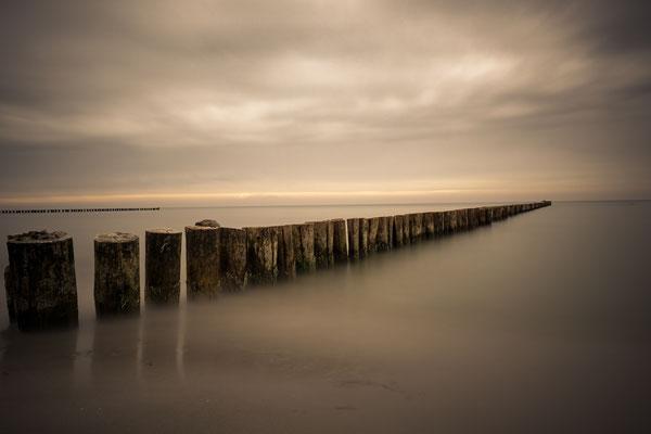 Buhnen an der Ostsee in Zingst