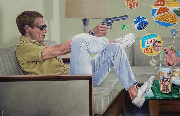 Gemälde 561, TV Dinner, Acryl auf Leinwand 2017/ 2019 ,125 x 90 cm