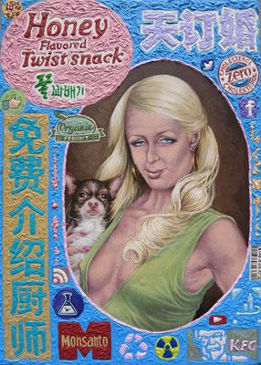 Gemälde  482 Paris Twist Snack , Acryl auf Hartfaserplatte ,2015, 50 x 70 cm
