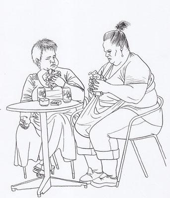 Zeichnung 195  Futterneid  Tusche auf Karton,2009,   30 x 40 cm