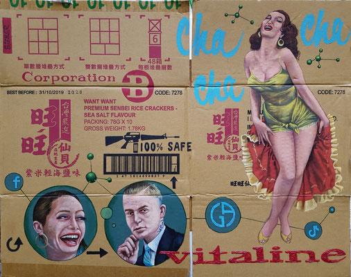 Gemälde 665, VITALINE ,Acryl auf Verpackungskarton,2020, 55 x 71  cm