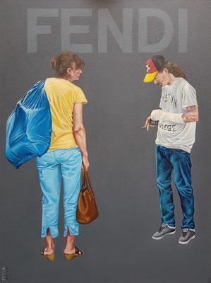 Gemälde 627,FENDI, Acryl auf Hartfaserplatte,2019, 60 x 80 cm
