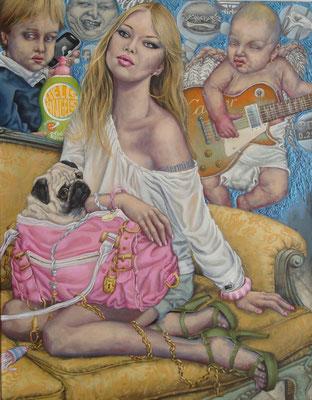 Gemälde 433  ,Angels   Acryl auf Leinwand,2013, 70 x 90 cm