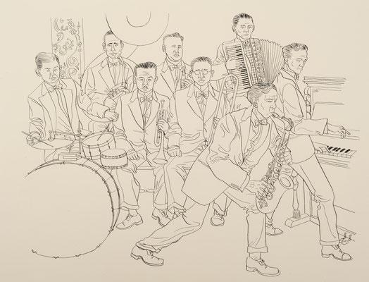 Zeichnung 233 Jazz Band, Tusche auf Karton, 2010, 36 x 48 cm