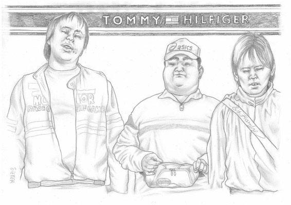 Zeichnung 445.  Tommy Hilfiger  Graphit  auf Karton,2011,  30x42 cm