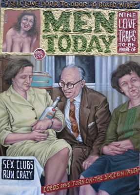 Gemälde 504,Men Today, Acryl auf Hartfaserplatte ,2015, 50 x 70 cm