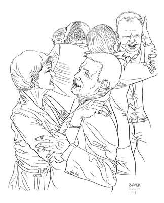 Zeichnung 177  Rock´N´Roll Cha Cha 2  Tusche auf Karton,2009, 30 x 40 cm