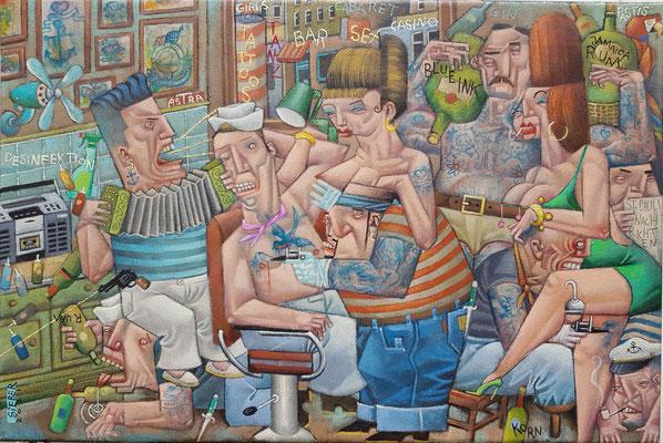 Gemälde 698,ST. PAULI TATOO BUDE , Acryl auf Leinwand, 2021,40 x 60  cm
