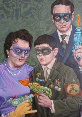 Gemälde 492,Superhero Family, Acryl auf Leinwand ,2015, 70 x 100 cm