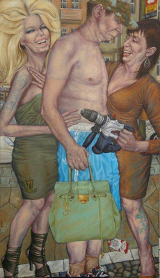 Gemälde 422 ,Tätowierte Damen bezirzen Prada-Täschen Gentleman  Acryl auf Lein.,2012, 90 x 155 cm