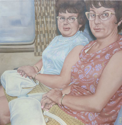 Gemälde 575 zwei Ladies im Zug , Acryl auf Leinwand, 2017, 50 x 52 cm